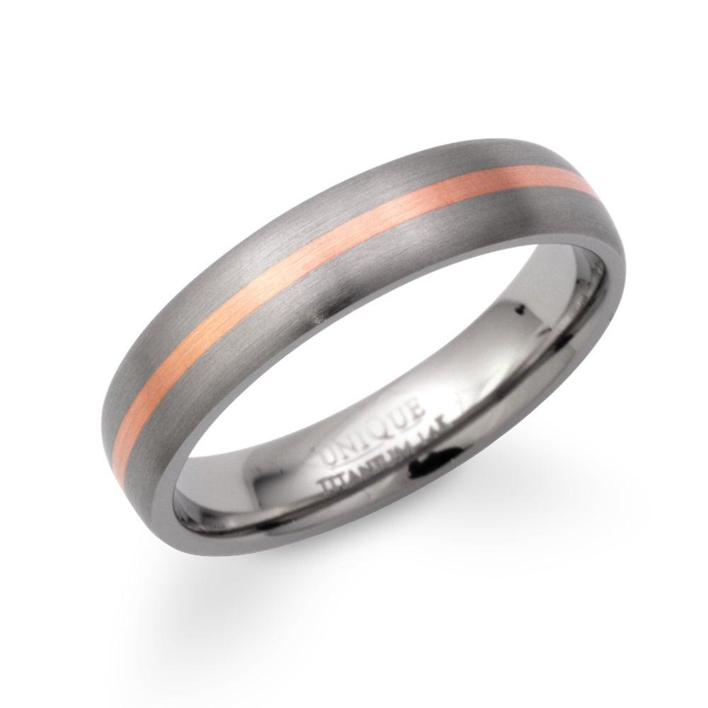 Unique & Co Titanium Ring with 14ct Rose Gold 5mm