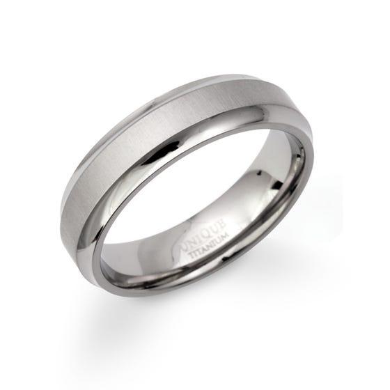 Matte & Polished Titanium Ring