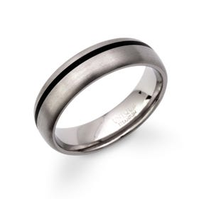 Titanium Ring with Black Enamel