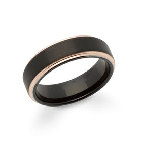 Tungsten Carbide 7mm Ring with Rose & Black Plating