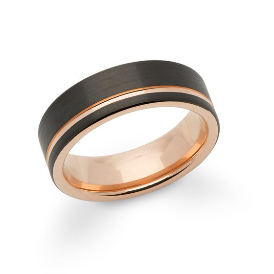 Rose Gold & Black Plated Tungsten Carbide 7mm Ring