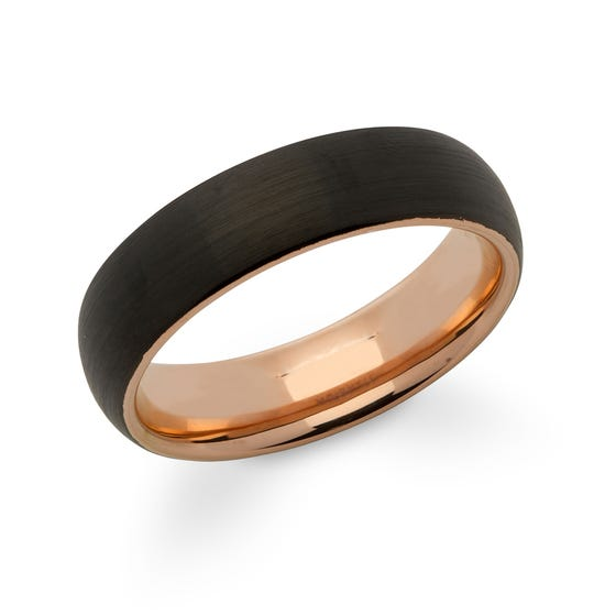 Rose Gold & Black Plated Tungsten Carbide 6mm Ring
