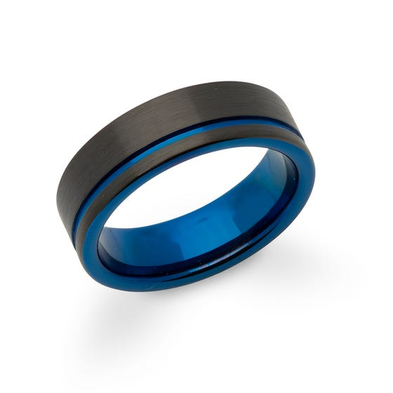 Blue & Black Tungsten Carbide 7mm Ring