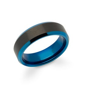 Tungsten Carbide 7mm Ring with Blue & Black Plating