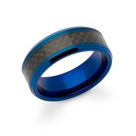 Black & Blue Tungsten Carbide 8mm Ring
