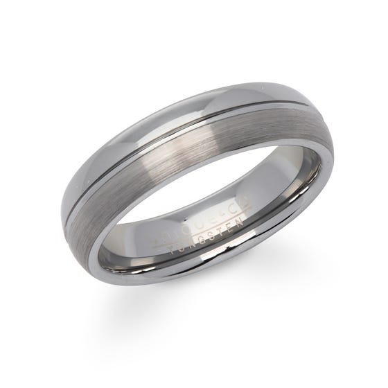 Brushed & Polished Tungsten Carbide 6mm Ring