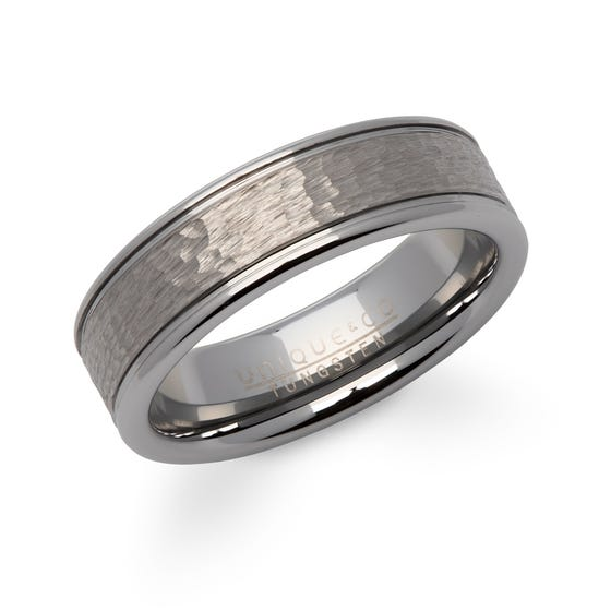 Hammered Effect Tungsten Carbide 7mm Ring