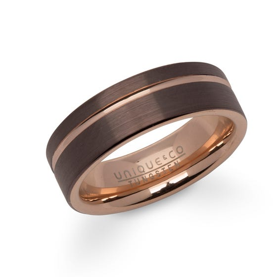 Rose & Brown Plated Tungsten Carbide 7mm Ring