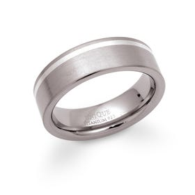 Titanium 7mm Ring with Silver Detail