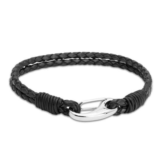 Black Leather Bracelet with Steel Shrimp Clasp