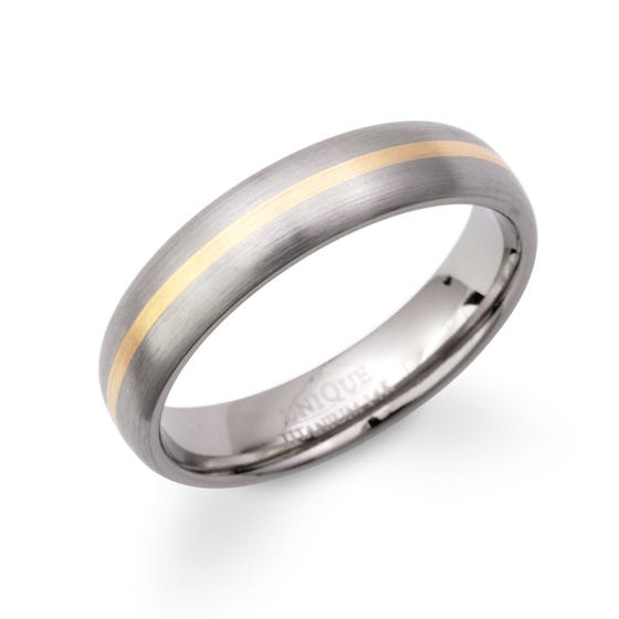 Titanium Ring with 14ct Gold Strip