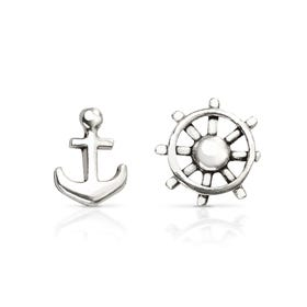 Cove Silver Anchor & Wheel Earrings