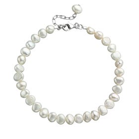 White Freshwater Pearl Single Row Silver Bracelet