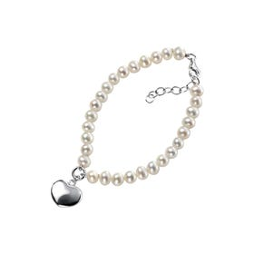 White Freshwater Pearl Heart Silver Bracelet