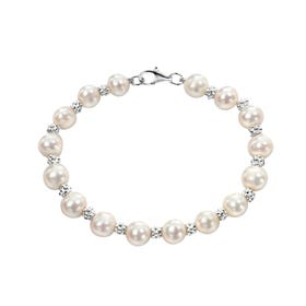 White Freshwater Pearl Textured Silver Bracelet