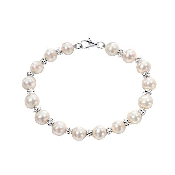 White Freshwater Pearl Textured Silver Bracelet