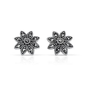 Marcasite Daisy Silver Stud Earrings