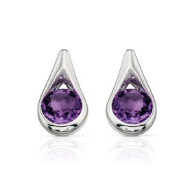 Iris Amethyst Teardrop Silver Earrings
