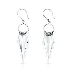 Desert Drop Silver Hoop Earrings