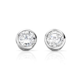 Luna Round Framed Stud Silver Earrings