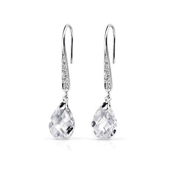 Clear CZ Teardrop Silver Earrings