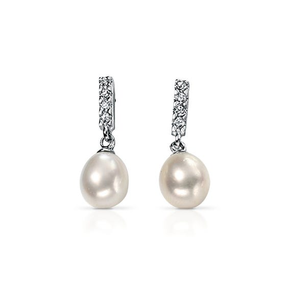 Freshwater Pearl Silver Drop Earrings with Cubic Zirconia
