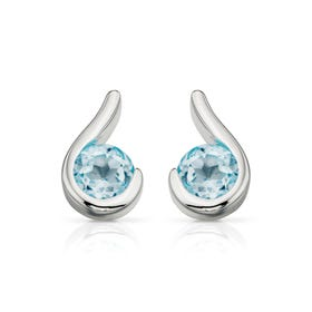 Iris Blue Topaz Stud Silver Earrings