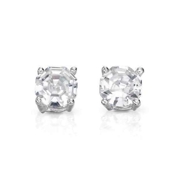 Luna Fancy Cut Stud Silver Earrings