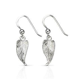 Wald Leaf Drop Silver Earrings