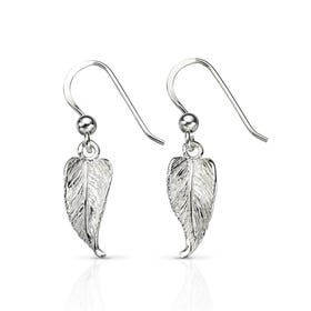 Wald Leaf Drop Silver Earrings
