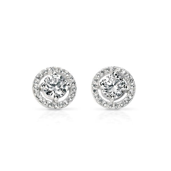 Luna Pave Disc Stud Silver Earrings
