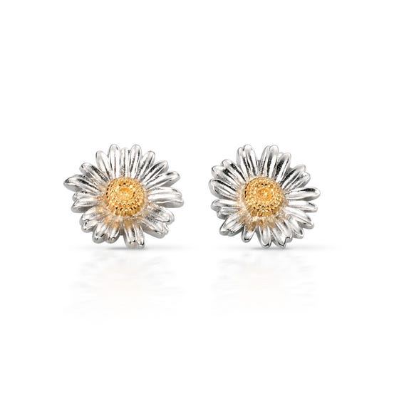 Meadow Silver Daisy Stud Earrings with Gold Plating