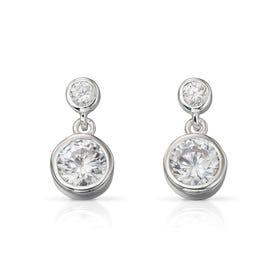 Luna Double Drop Silver Earrings