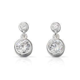 Luna Double Drop Silver Earrings
