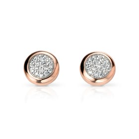 Luna Pave Silver Earrings with Rose Gold Surround