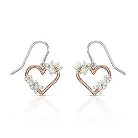 Rosa Silver Floral Heart Earrings with Rose Gold Plating