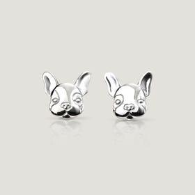 Love French Bulldog Stud Silver Earrings