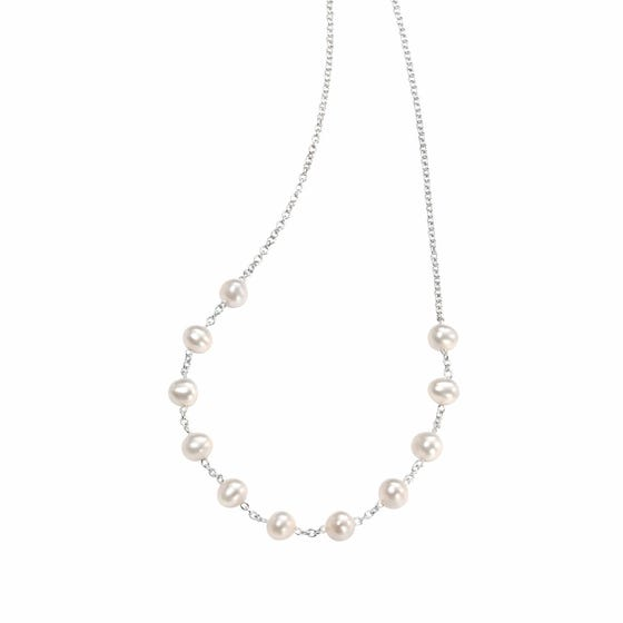 White Freshwater Pearl Silver Necklace