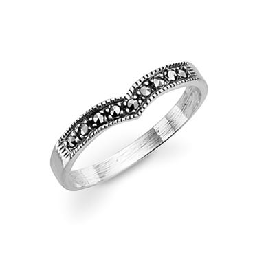 Marcasite Wishbone Silver Ring
