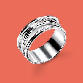 Sketch Cross Over Silver Ring