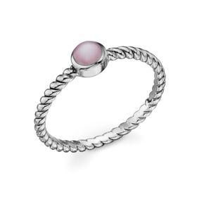 Spun Twisted Silver Ring with Mother of Pearl