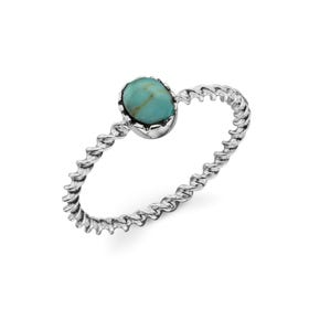 Sophia Imitation Turquoise Twisted Silver Ring