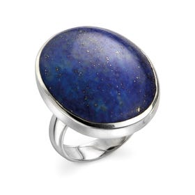 Neith Lapis Lazuli Large Oval Silver Ring