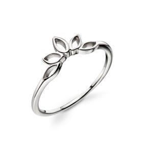 Meadow Open Marquise Lotus Silver Ring