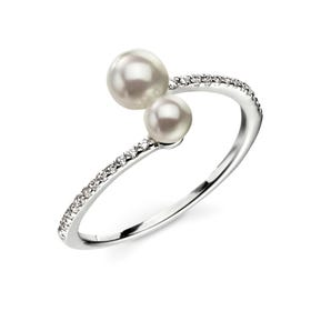 Double Pearl Silver Ring with Cubic Zirconia