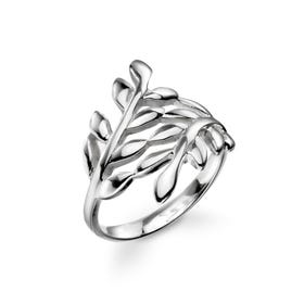Wald Wrap Over Leaf Silver Ring