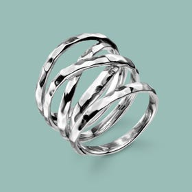 Sketch Wide Wrap Silver Ring