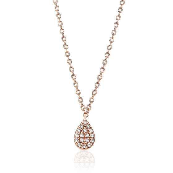 Eos Rose Gold Plated Silver Droplet Necklace