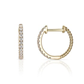 18ct Gold 0.25ct Diamond Small Hoop Earrings