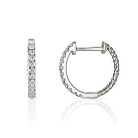 18ct White Gold 0.25ct Diamond Small Hoop Earrings